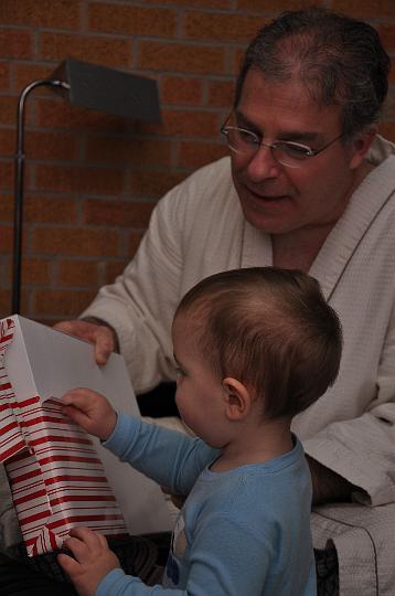 Jackson opening Pop's present