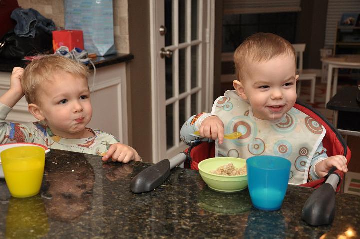 Jackson & Carter eating Breakfast