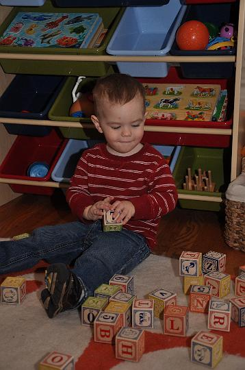 Jackson playing with his blocks
