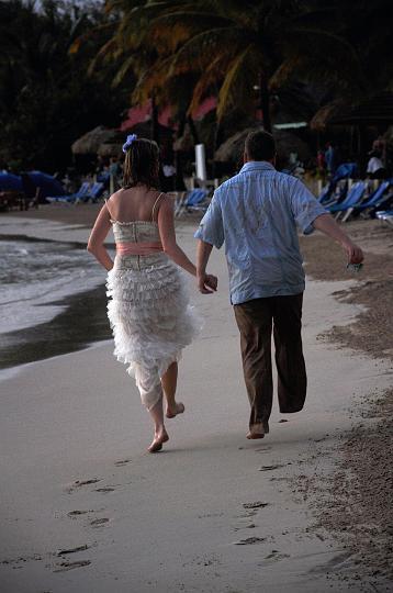 Skipping down the beach