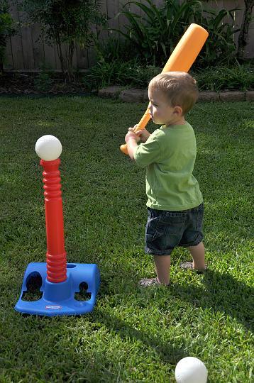 JD playing baseball